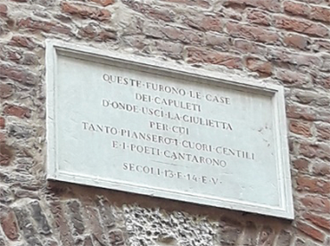 Casa di Giulietta, Verona - inscripţie